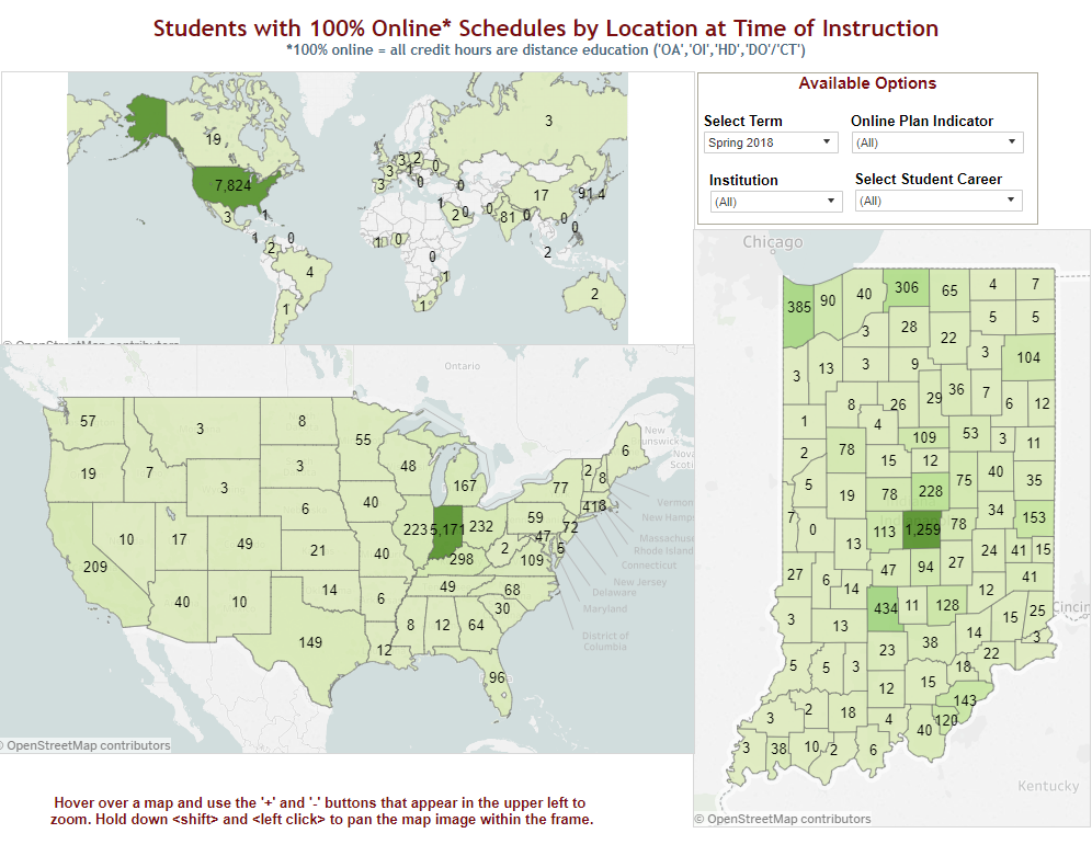 maps showing number of students with 100% online schedules by world, US, and Indiana
