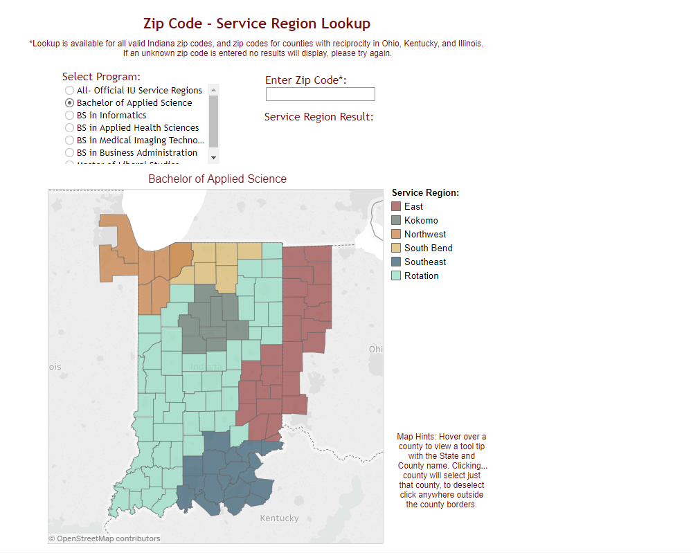 zipcode service region lookup tool