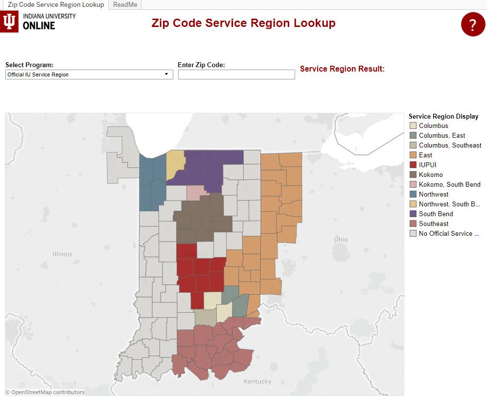 zipcode service region lookup tool